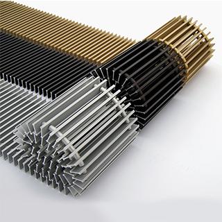 Декоративные алюминиевые и деревянные решетки для внутрипольных конвекторов itermic